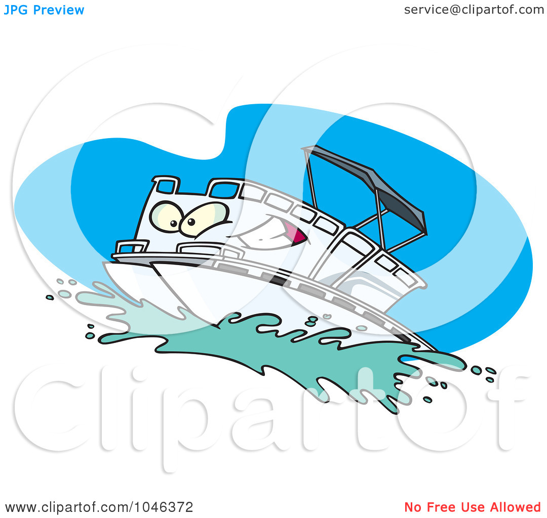 Royalty-Free (RF) Clip Art Illustration -Royalty-Free (RF) Clip Art Illustration of a Cartoon Pontoon Boat Character by Ron Leishman-17
