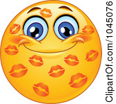 Royalty Free RF Clip Art Illustration Of-Royalty Free RF Clip Art Illustration Of A Grinning Emoticon Covered In Lipstick Kisses-19