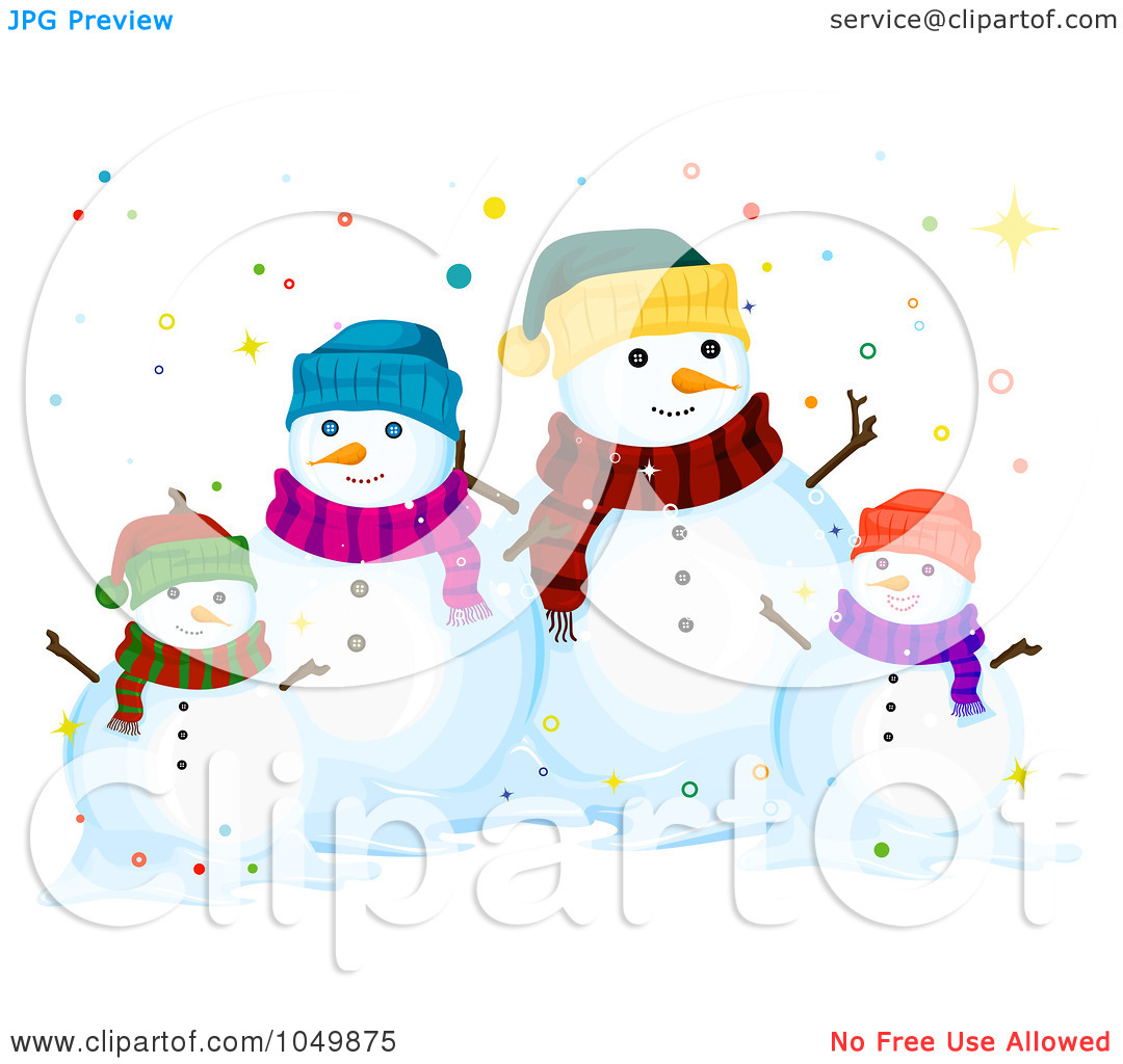 Royalty-Free (RF) Clip Art Illustration of a Snowman Family Surrounded By Colorful Dots by BNP Design Studio