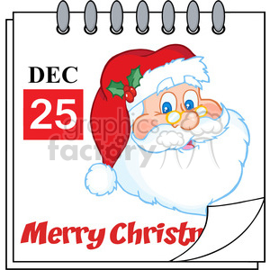 Royalty Free RF Clipart Illustration Christmas Holiday Calendar With  Classic Santa Claus Head