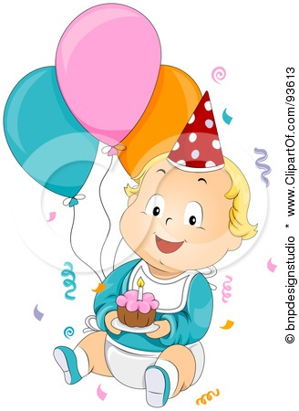 Royalty-Free (RF) Clipart Illustration O-Royalty-Free (RF) Clipart Illustration of a Baby Birthday Boy With Confetti,-12