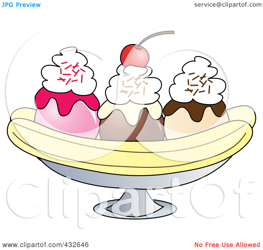Royalty-Free (RF) Clipart Illustration o-Royalty-Free (RF) Clipart Illustration of a Banana Split With Whipped Cream And A Cherry by Pams Clipart-13