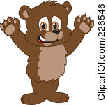 Royalty Free RF Clipart Illustration Of A Bear Cub School Mascot Holding His Paws Up