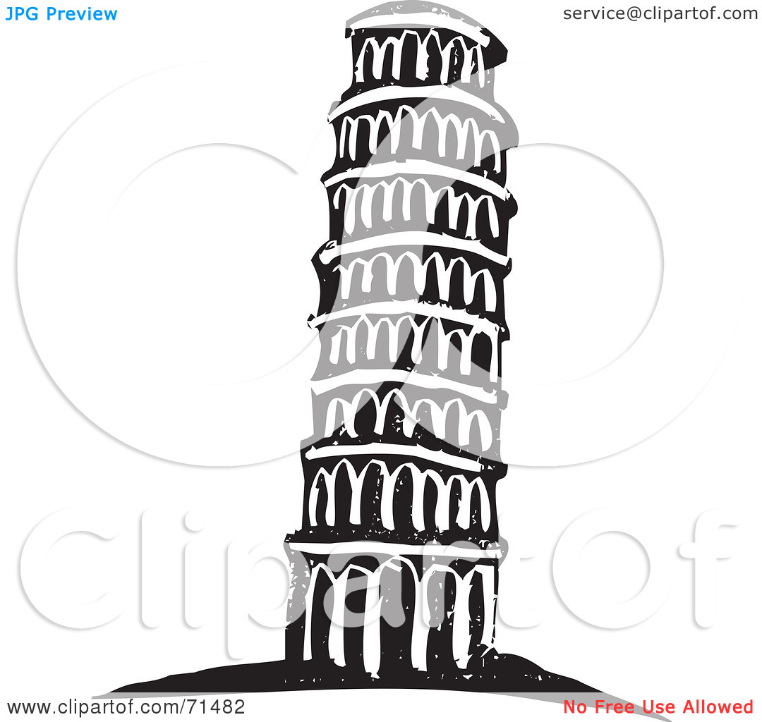 Royalty-Free (RF) Clipart Illustration of a Black And White Carving Design Of The Leaning Tower of Pisa by xunantunich