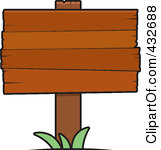 Royalty Free RF Clipart Illustration Of A Blank Wooden Plank Sign With Grass