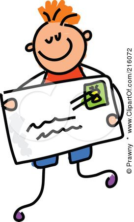 Royalty-Free (RF) Clipart Illustration of a Childs Sketch Of A Boy Holding