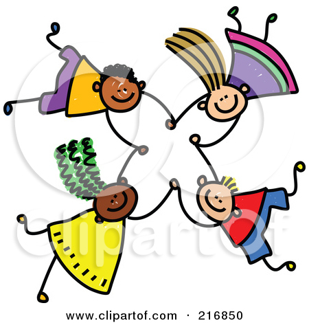 Royalty-Free Rf Clipart Illustration Of A Childs Sketch Of Four Kids Holding Hands While Falling - 5 by Prawny