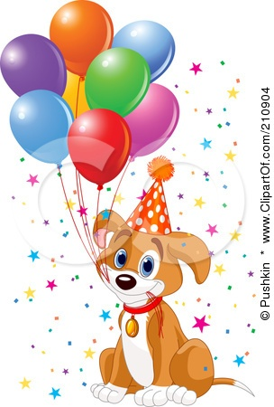 Royalty-Free (RF) Clipart Illustration O-Royalty-Free (RF) Clipart Illustration of a Cute Beagle Puppy Dog Holding Balloon-13