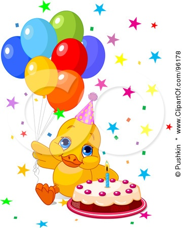 Royalty-Free (RF) Clipart Illustration O-Royalty-Free (RF) Clipart Illustration of a Cute Birthday Duck With Balloons,-19