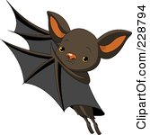 Royalty Free RF Clipart Illustration Of A Cute Flying Bat