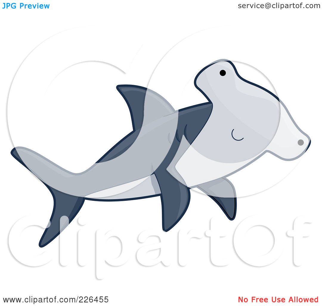 Royalty-Free (RF) Clipart Illustration O-Royalty-Free (RF) Clipart Illustration of a Cute Hammerhead Shark by BNP Design Studio-18