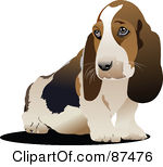 Royalty Free RF Clipart Illustration Of A Cute Sitting Basset Hound Dog