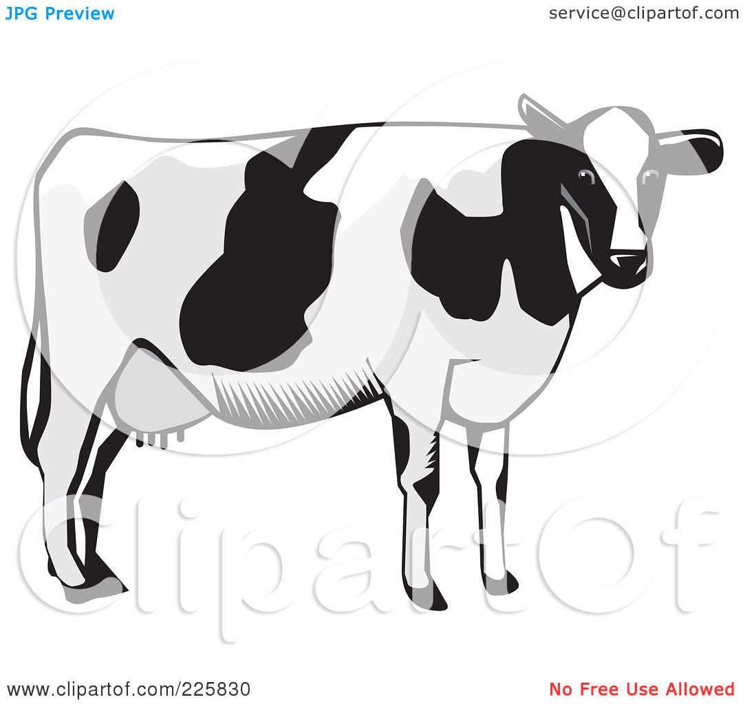 Royalty-Free (RF) Clipart Illustration O-Royalty-Free (RF) Clipart Illustration of a Dairy Cow In Grayscale by David Rey-16