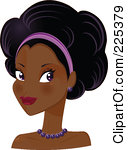 Royalty Free RF Clipart Illustration Of A Pretty Black Woman With A  Headband And An Afro