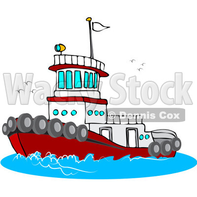 Royalty-Free (RF) Clipart Illustration of a Red And White Tug Boat At ...
