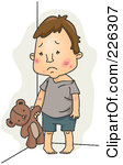 Royalty Free RF Clipart Illustration Of -Royalty Free RF Clipart Illustration Of A Sad Abused Child With A Teddy Bear-13