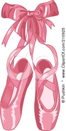 Royalty-Free (RF) Clipart Illustration of a Shiny Pink Satin Ballet Slippers With
