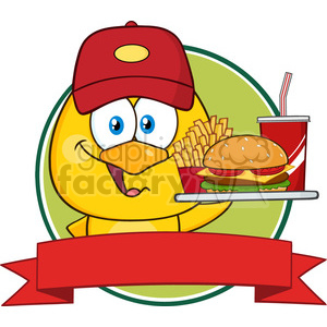 royalty free rf clipart illustration yellow chick cartoon character wearing  a baseball cap and holding a