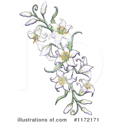 Royalty-Free (RF) Easter Lily Clipart Illustration by Gina Jane - Stock Sample