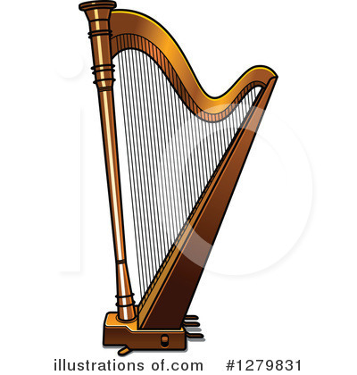Royalty-Free (RF) Harp Clipart Illustration #1279831