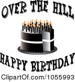 Royalty Free Vector Clip Art Illustration Of A Black Cake With Candles And Over The Hill