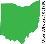 Royalty Free Vector Clip Art Illustration Of A Green Silhouetted Shape Of The State Of Ohio