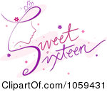 Royalty Free Vector Clip Art Illustratio-Royalty Free Vector Clip Art Illustration Of Sweet Sixteen Text With A Girls Face-5