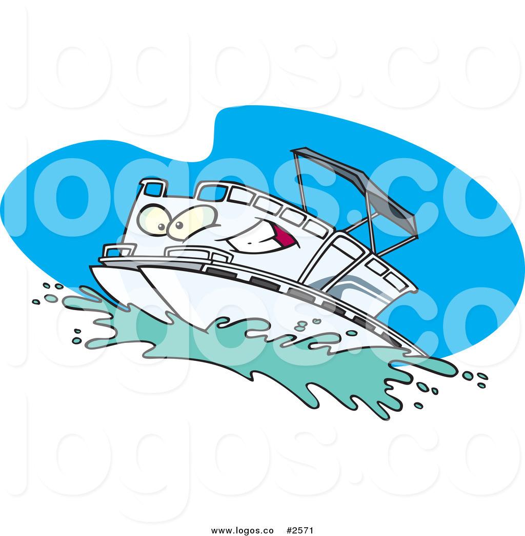 Royalty Free White Cartoon Pontoon Boat -Royalty Free White Cartoon Pontoon Boat Character Logo-18