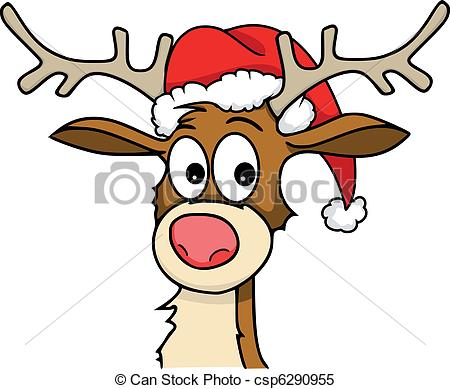 ... rudolph - Reindeer with christmas hat on.