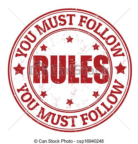 ... Rules stamp - You must follow rules grunge rubber stamp on.