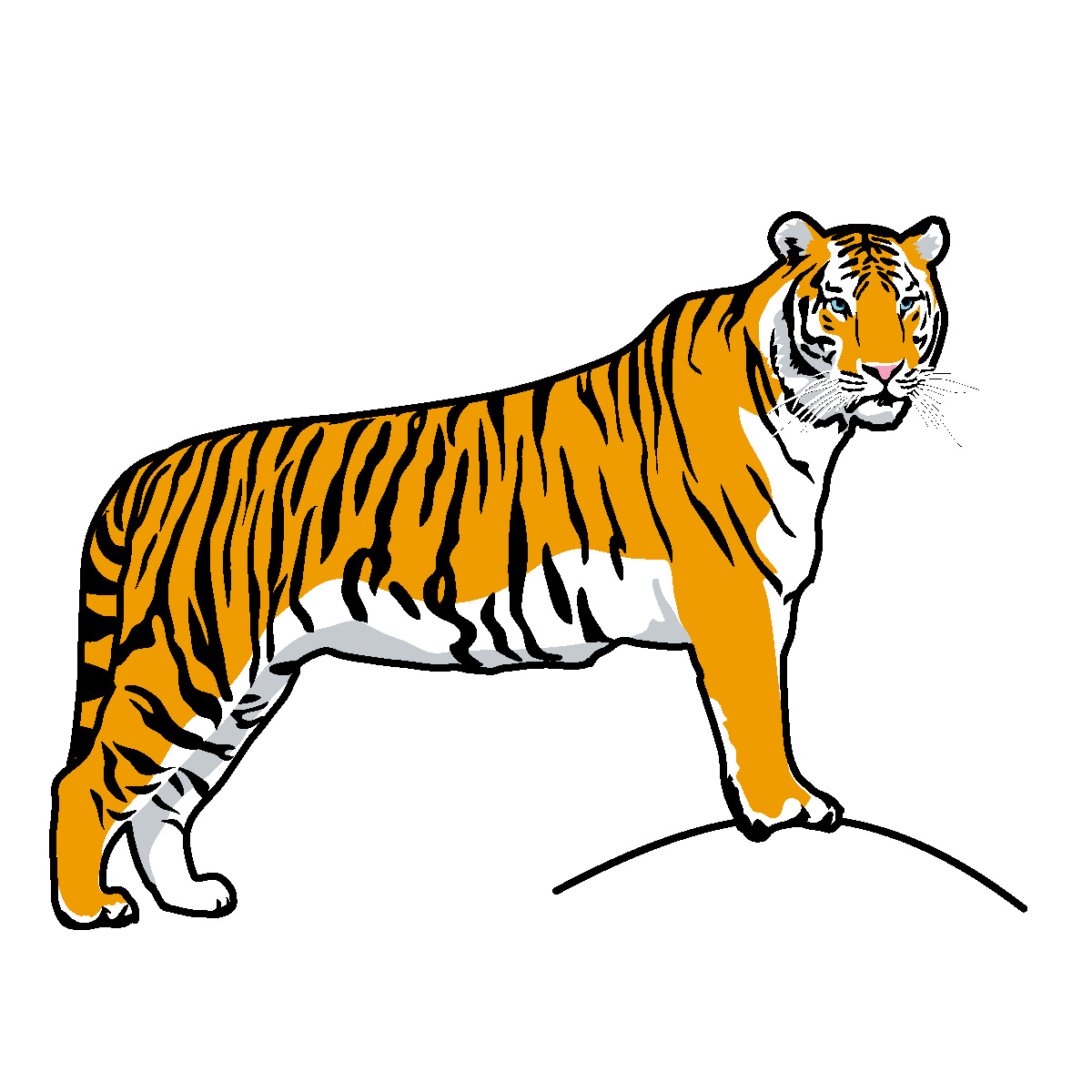 running tiger clipart black and white
