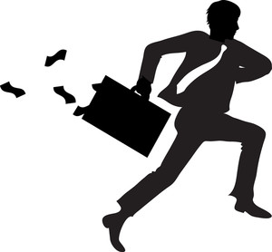 Running businessman clipart