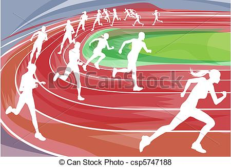 ... Running Race on Track - Illustration background of runners.
