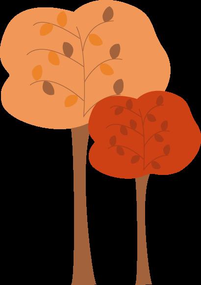 Rustic Fall Trees Clip Art - Rustic Fall Trees Image