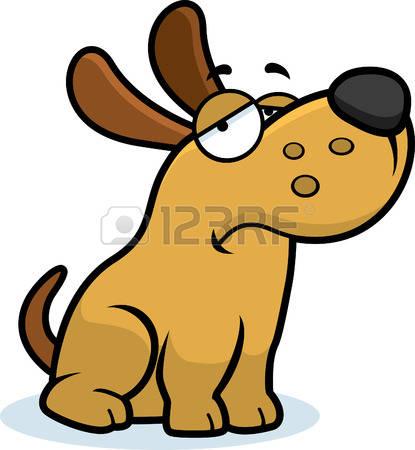 sad dog: A cartoon illustration of a dog looking sad.