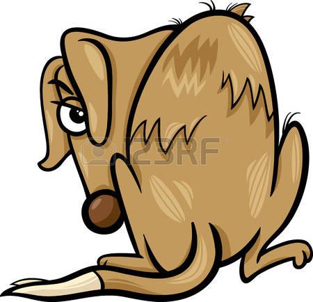 sad dog: Cartoon Illustration of Poor Homeless Dog