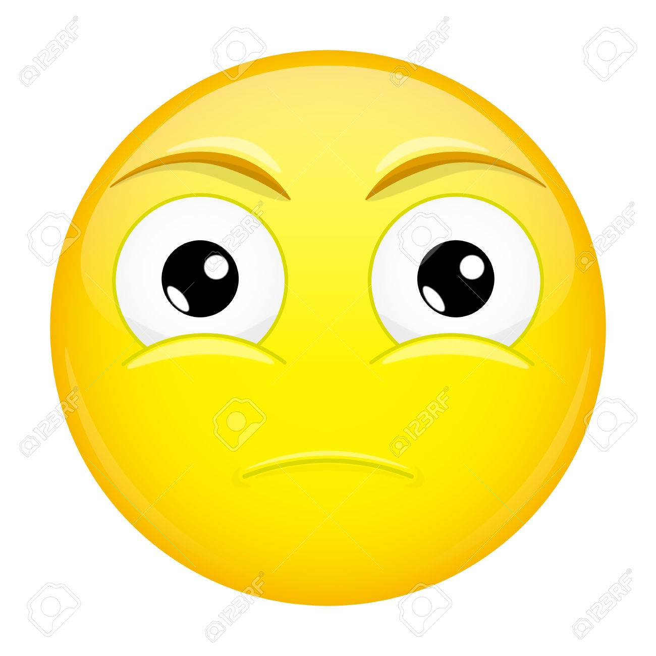 Sad emoji. Bore emotion. Hurt emoticon. Vector illustration smile icon.  Stock Vector