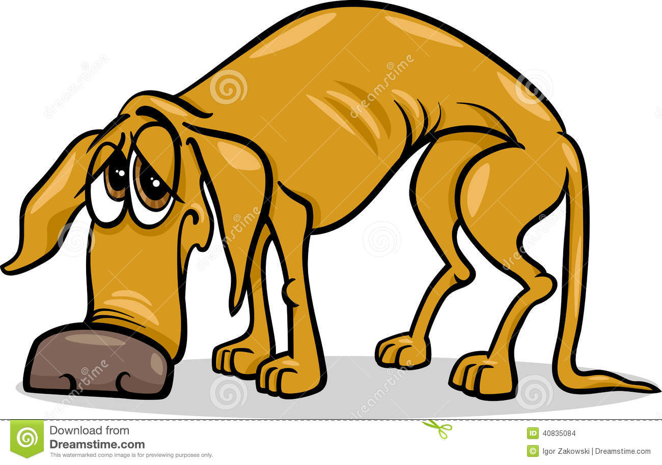 Sad homeless dog cartoon .