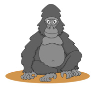 Sad Looking Gorilla Clipart Size: 51 Kb