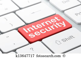 Safety concept: computer keyboard with word Internet Security, selected focus on enter button background, 3d render