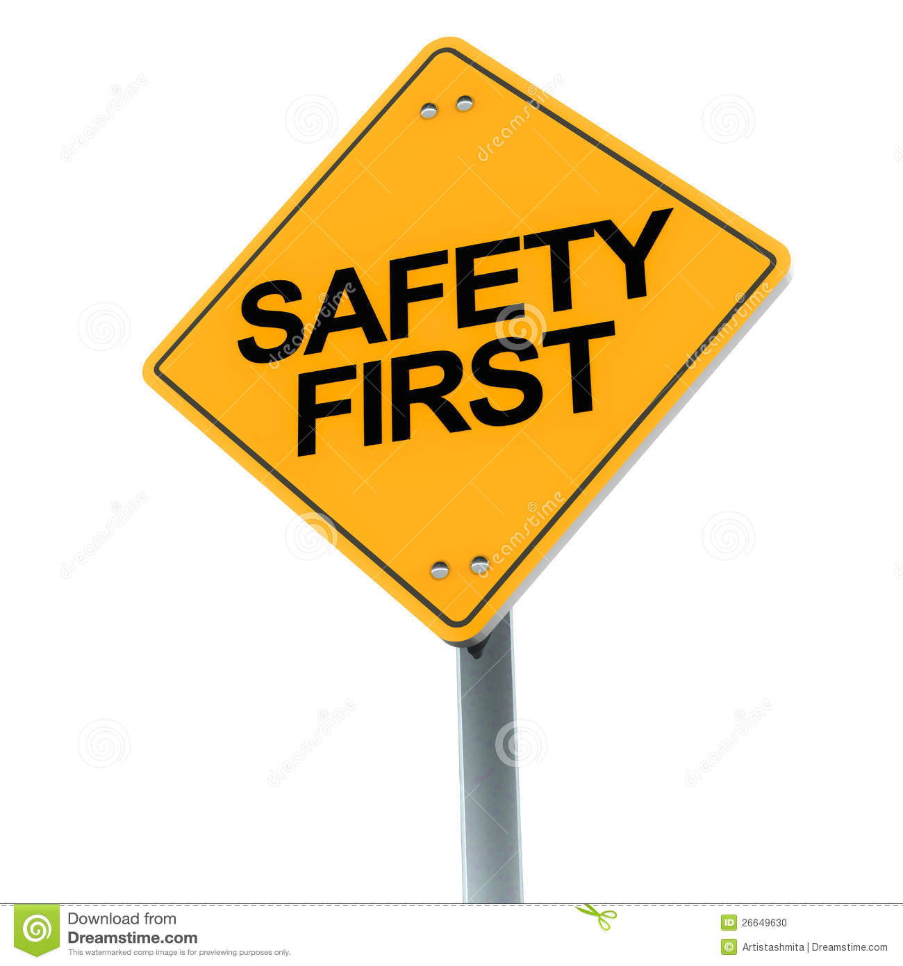 Safety First Road Sign On Clean Backgrou-Safety First Road Sign On Clean Background Showing Concern For Safety-12