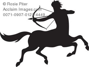Clip Art Illustration Of The Silhouette Of A Male Sagittarius Symbol