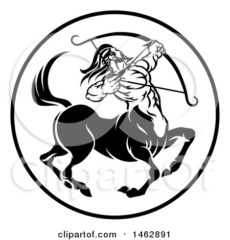 Clipart of a Black and White Zodiac Horo-Clipart of a Black and White Zodiac Horoscope Astrology Centaur Sagittarius  Circle Design - Royalty Free Vector Illustration by AtStockIllustration-16