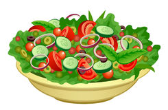 Bowl of salad. On a white bac - Salad Clipart