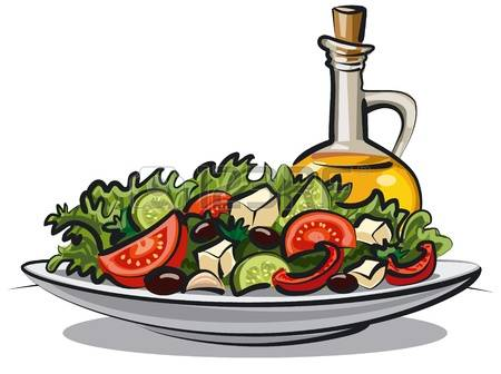 fresh vegetable salad and oli - Salad Clipart