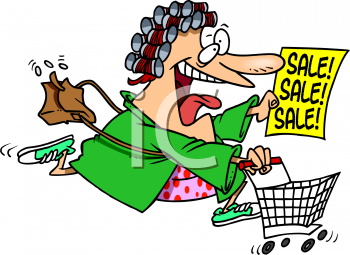 Excited Woman Rushing to a Sale Clip Art - Royalty Free Clipart Illustration