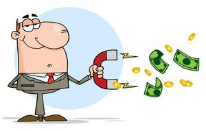 Salesman Clipart Image: Cartoon Salesman-Salesman Clipart Image: Cartoon Salesman with Money Attracting Magnet-9