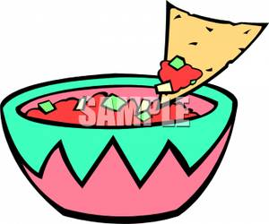 Salsa With A Tortilla Chip Scooping Some-Salsa With A Tortilla Chip Scooping Some Out Royalty Free Clipart-15