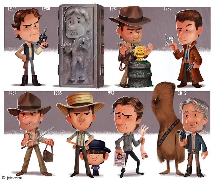 Cartoon Evolutions Of Harrison Ford And -Cartoon Evolutions of Harrison Ford and Samuel L. Jackson by Jeff Victor-1