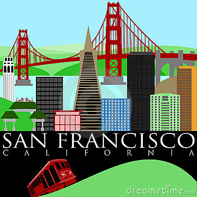 San Francisco California Skyline With Golden Gate Bridge By The Bay